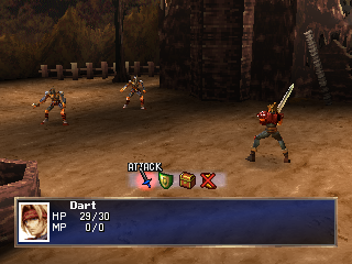 The Legend of Dragoon PlayStation The game's first battle - naturally, it's just the hero; and if the enemies aren't slimes, they must be evil enemy soldiers