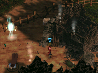 The Legend of Dragoon PlayStation The first explorable location of the game - Dart's destroyed home village. Note the glowing save sign