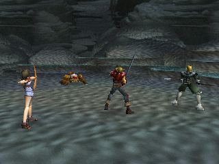 The Legend of Dragoon PlayStation Early battle in a cave dungeon. Shana is shooting at a monster with her bow