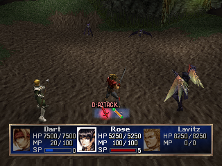 The Legend of Dragoon PlayStation Finally you gain some dragon transformation abilities. Rose here is one of the first - see how her battle command menu changes to correspond to the new form