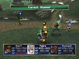 The Legend of Dragoon PlayStation Mid-game battle in a forest. Check out my new companions - and see how two of my guys are poisoned...