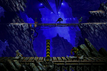 Oddworld: Abe's Exoddus PlayStation Like before, some levels have depth perspective. In the background, Abe is trying to run away from a Slig