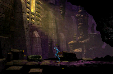 Oddworld: Abe's Exoddus PlayStation A mysterious temple. Looks like Abe is feeling a bit... blue
