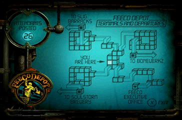 Oddworld: Abe's Exoddus PlayStation Some areas have maps you can view in certain locations