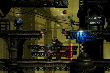 Oddworld: Abe's Exoddus PlayStation You've infiltrated the enemy's headquarters. Vykkers lab is ahead. Tight security