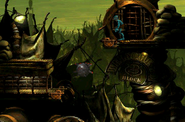 Oddworld: Abe's Exoddus PlayStation Another beautiful scene - this time with a floating bomb!