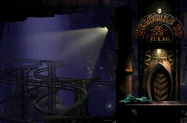 Oddworld: Abe's Exoddus PlayStation One of the Zulag interior locations. No, Abe isn't dead - just knocked himself down by running into a barrier