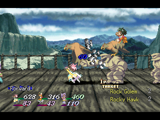 Tales of Destiny II PlayStation ...and a battle right there! Note the similarities and differences in backgrounds for exploration and battle