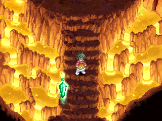 Tales of Destiny II PlayStation Volcanic dungeon. I made Farah the lead character now. Nearby is a save point