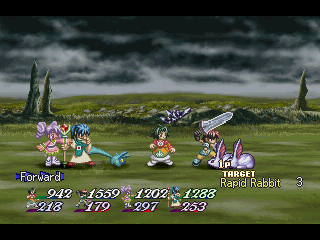 Tales of Destiny II PlayStation Mid-game regular battle with an ominous sky as the background
