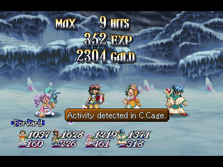 Tales of Destiny II PlayStation The party posing for victory after a battle in a snowy cave