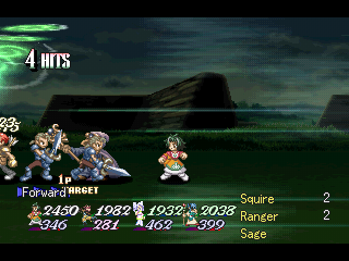 Tales of Destiny II PlayStation Late-game battle: more powerful spells. The whole screen is affected by this cyclone