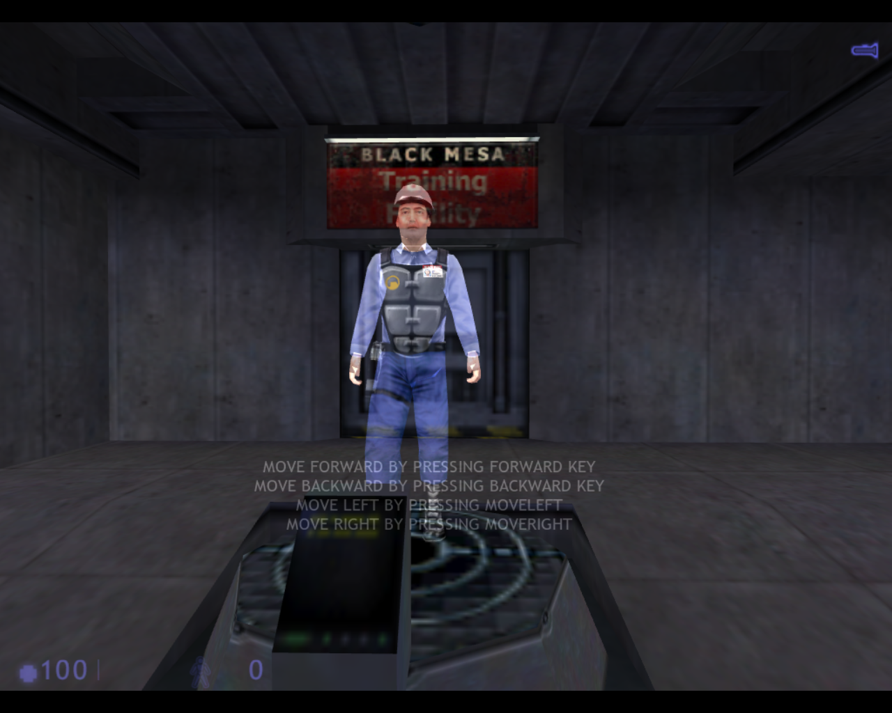 Half-Life: Blue Shift Linux Starting the Hazard Course. This is you holographic guide.