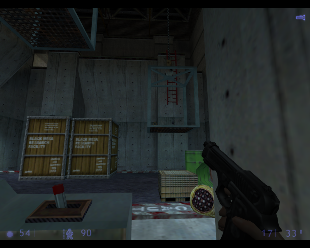 Half-Life: Blue Shift Linux I need to position the crates and platforms to get to that ladder.