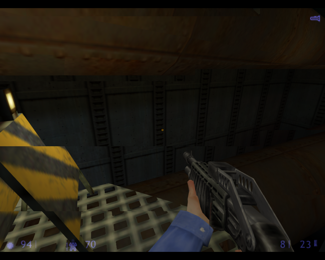 Half-Life: Blue Shift Linux To get past the broken bridge, I need to use this pipe as a make-shift bridge.
