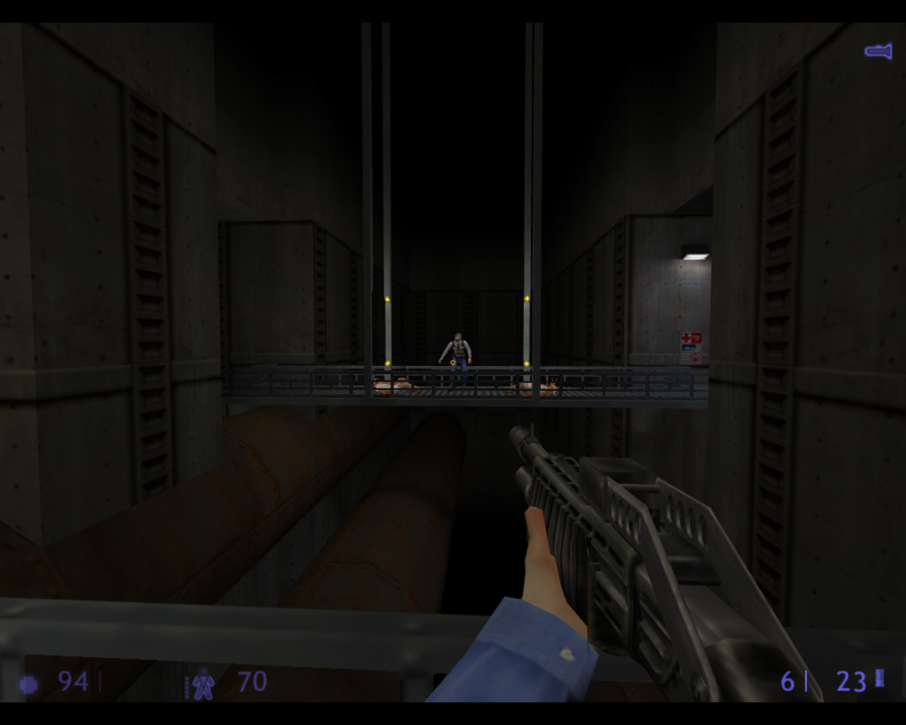 Half-Life: Blue Shift Linux That guard survived the zombies but he looks woozy.