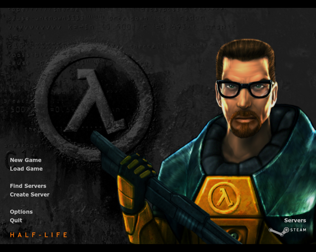 Half-Life Linux The title and main menu