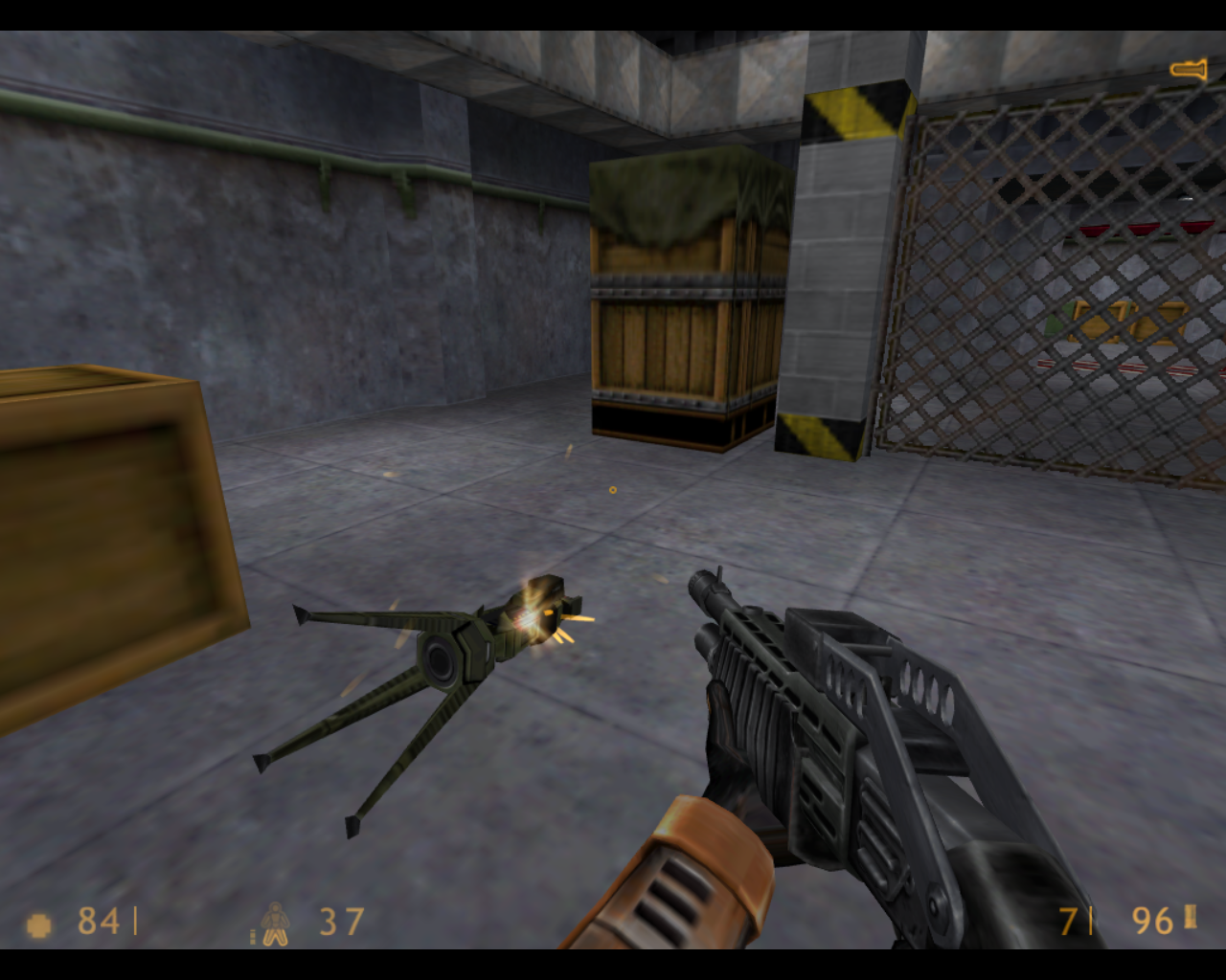 Half-Life Linux I took down that auto turret.