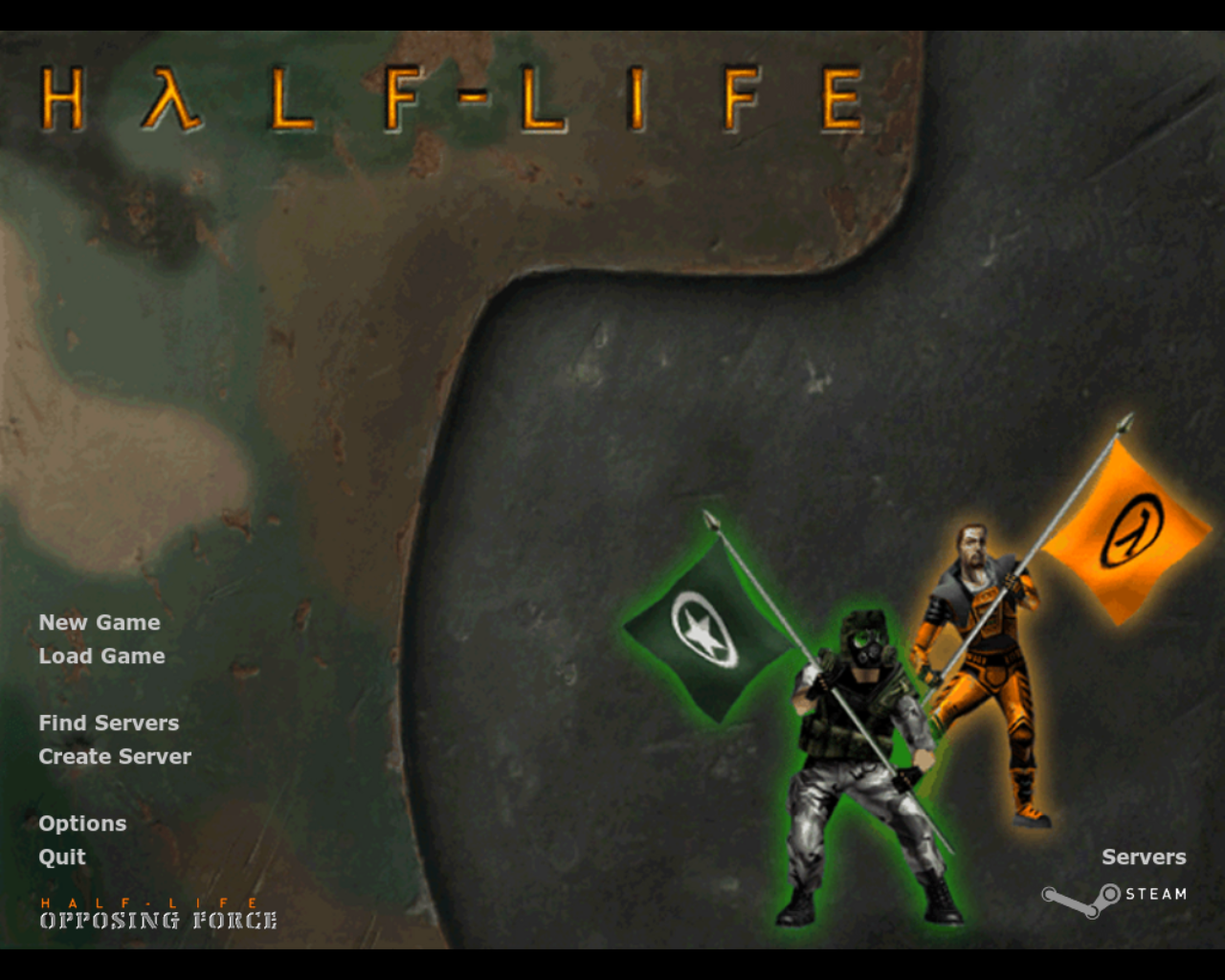 Half-Life: Opposing Force Linux Title and main menu
