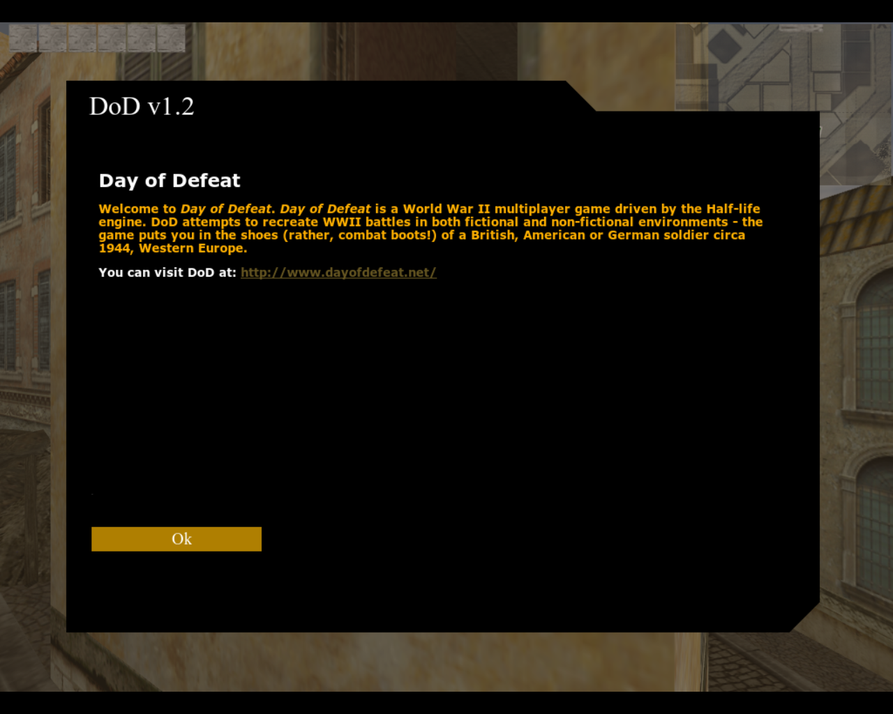 Day of Defeat Linux Welcome message