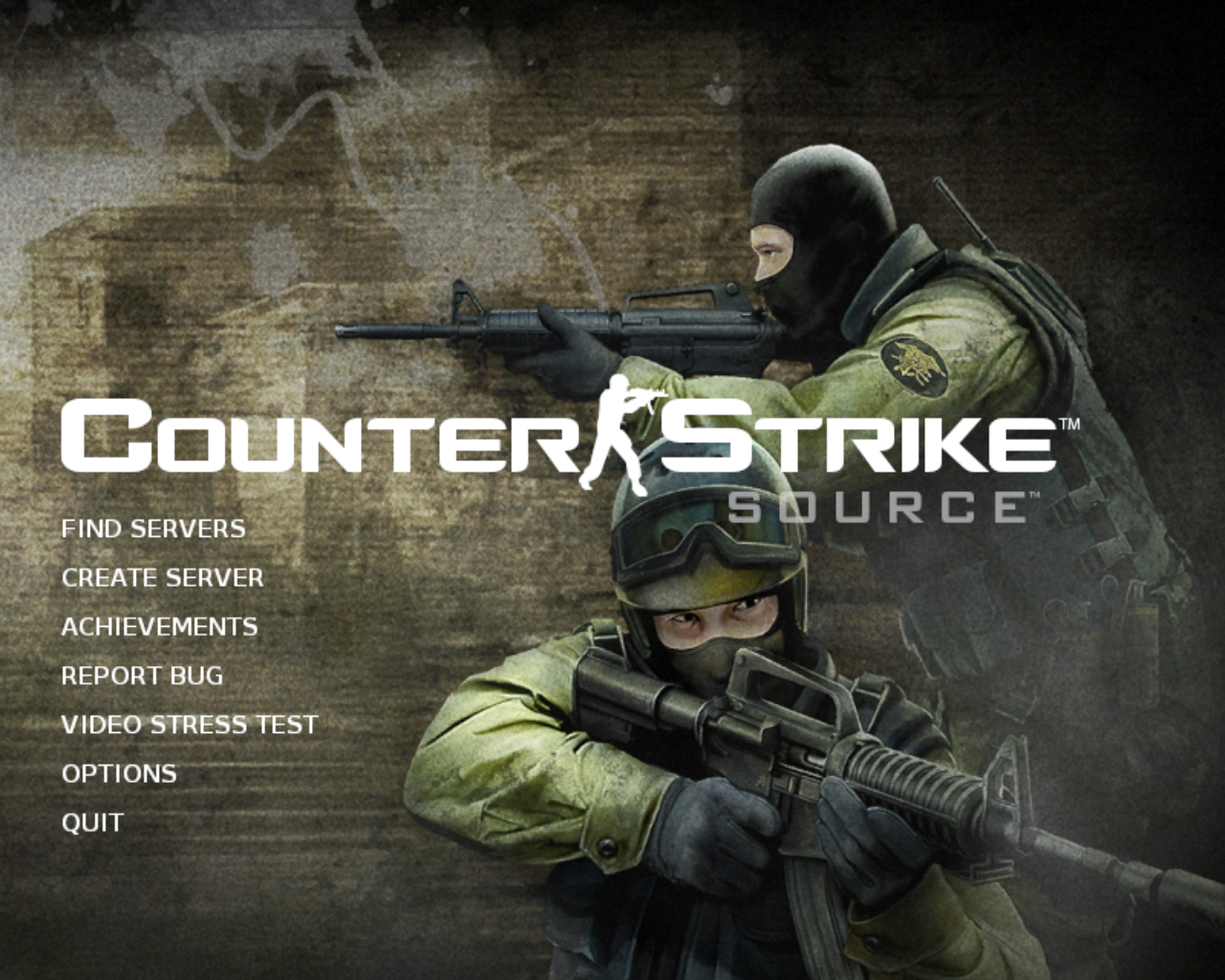 Counter-Strike: Source Linux Title and main menu