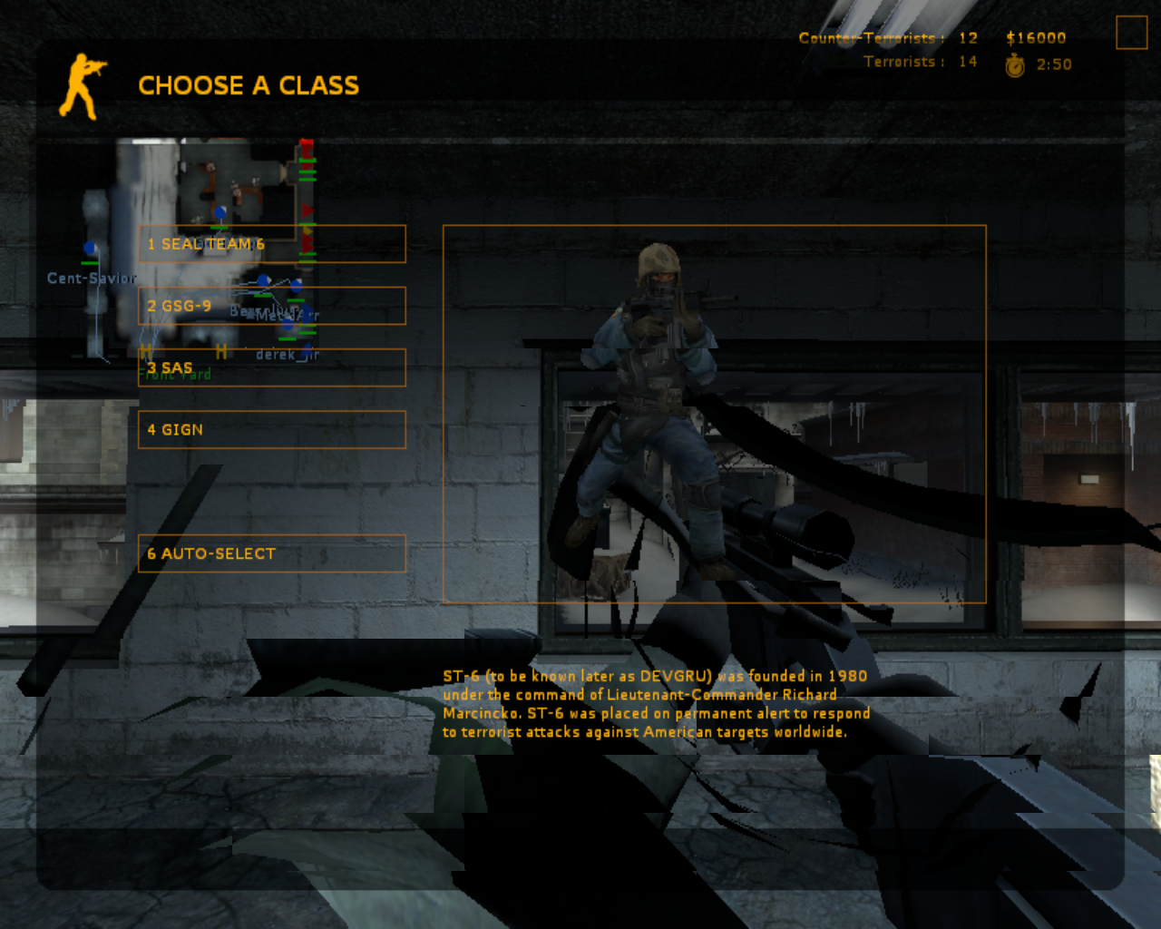 Counter-Strike: Source Linux OK, choose your counter -terrorist class.