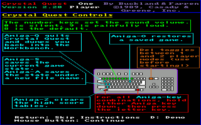 Crystal Quest Amiga Instructions