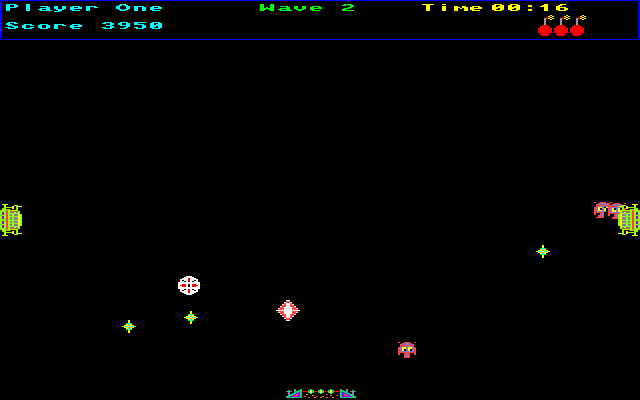 Crystal Quest Amiga Enemies come out from the gate on the left and right sides