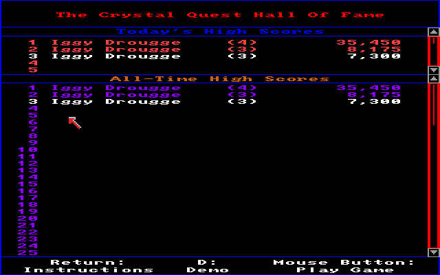 Crystal Quest Amiga Hall of fame