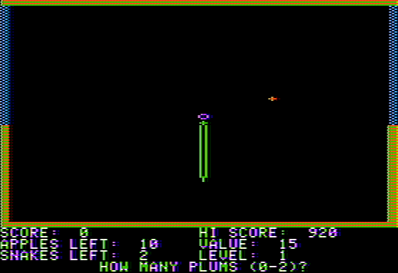 Snake Byte Apple II New game - how many plums?