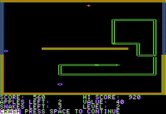 Snake Byte Apple II A rather embarrassing crash... I blame the relative controls!