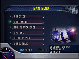 Test Drive 6 PlayStation Main Menu