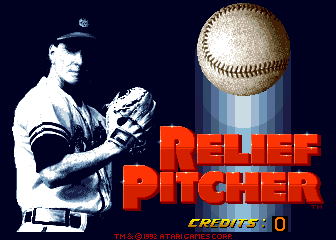 Relief Pitcher Arcade Title Screen.