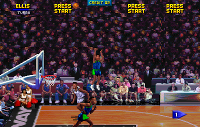 NBA Jam Tournament Edition Arcade The ball is high in the air.
