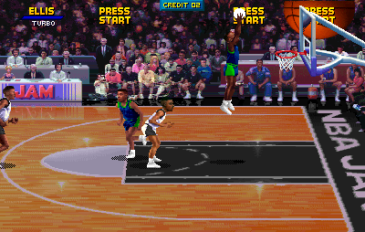 NBA Jam Tournament Edition Arcade The shot is blocked.