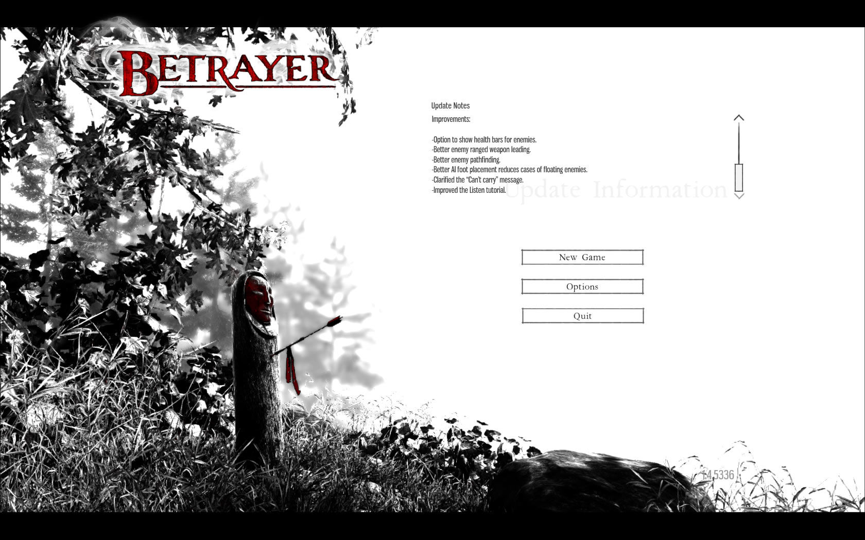 Betrayer Windows Main menu