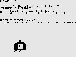 Pioneer Trail ZX81 Testing your rifles.