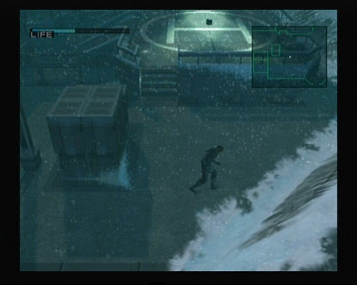Metal Gear Solid: The Twin Snakes GameCube With all the lightposts reflecting upon the helipad it's better to find a way around it.