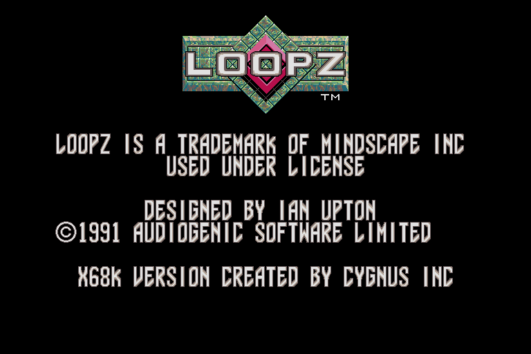 Loopz Sharp X68000 Title screen