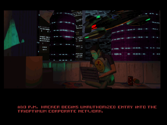 System Shock DOS FMV intro: a hacker's work is never done... (CD version)