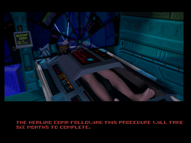 System Shock DOS FMV intro: undergoing a cybernetic enhancement surgery (CD version)