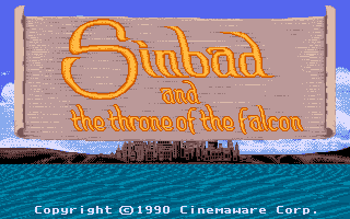 Sinbad and the Throne of the Falcon Apple IIgs Title screen. A 1990 copyright date tells me this port got waaaaaaaay delayed.