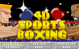 4-D Boxing DOS Title screen and menu