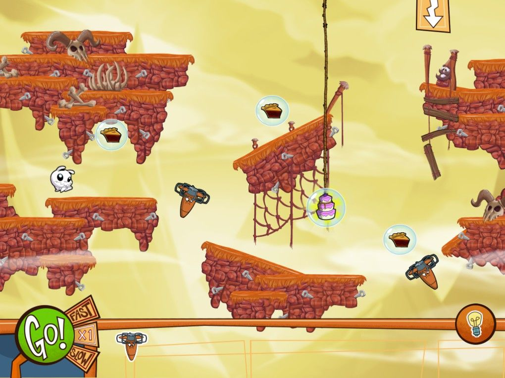 Eets Munchies Windows The first puzzle in  Windy Peaks. In this level we have fans, which blow wind when activated.