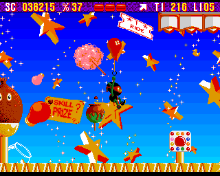 Zool Amiga Fairground World - in this level Zool can use a balloon as a lift.