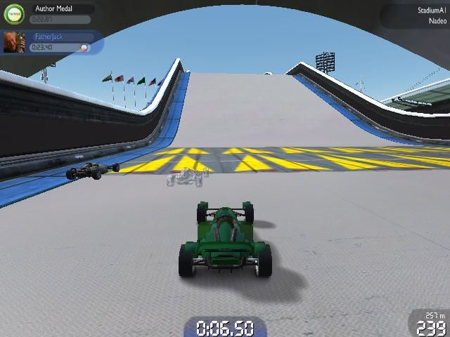 TrackMania United Forever Windows Stadium: Approaching a turbo pad