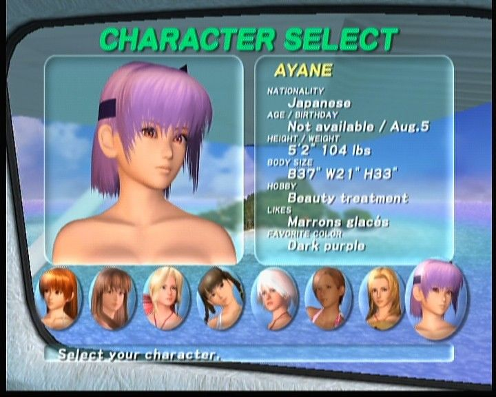 Dead or Alive: Xtreme Beach Volleyball Xbox Character selection screen for Zack Island scenario.