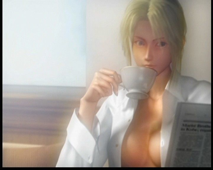 Dead or Alive: Xtreme Beach Volleyball Xbox Camera sure knows how to make fools of us, as if this scene is really about drinking tea.