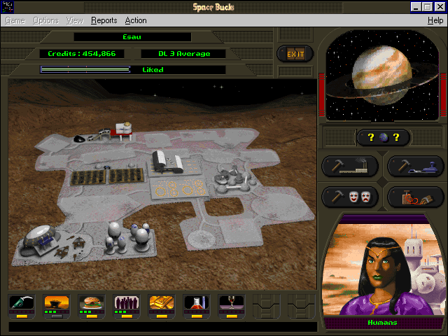 Space Bucks Windows 3.x On planet, build and demolish structures