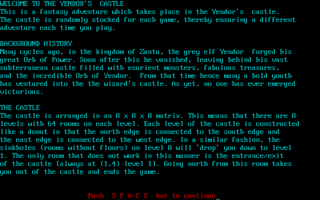 Amulet of Yendor DOS Introductory information: Welcome screen